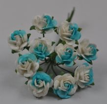 CYAN WHITE ROSES (1.2cm) Mulberry Paper Roses
